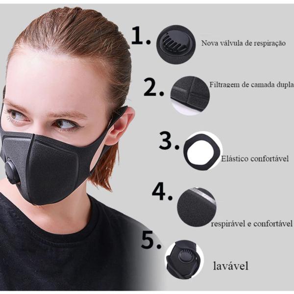 Máscara de poluição Grau Militar Anti Poeira Do Ar e Poluição Causada Pela Fumaça Respirador Máscara com Alças Ajustáveis e um Lavável Máscara Feita 5